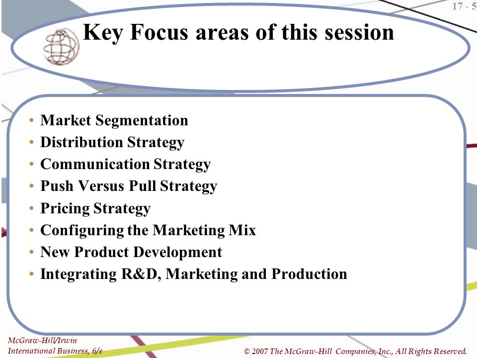Key Focus areas of this session