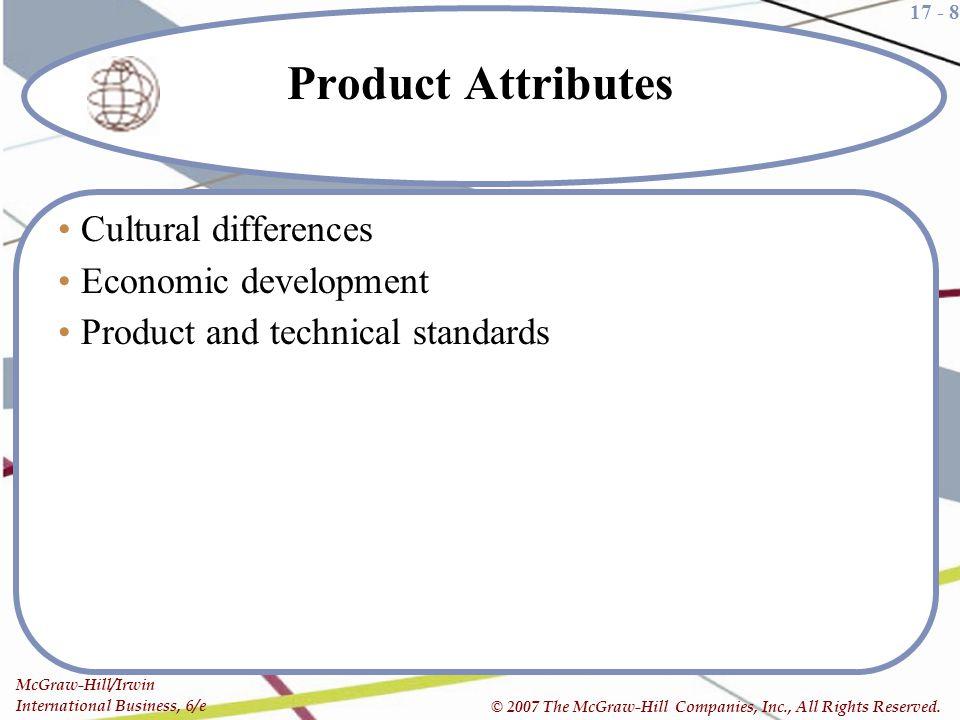 Product Attributes Cultural differences Economic development