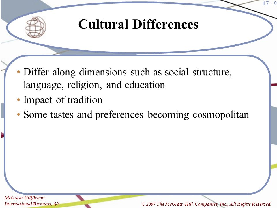 Cultural Differences Differ along dimensions such as social structure, language, religion, and education.