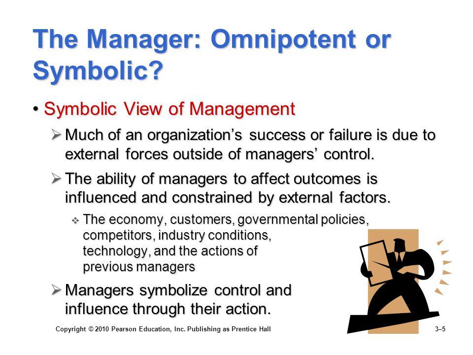 symbolic view vs omnipotent view แบ งเป  น 2 อย  างคือ 1 แนวคิดตามทัศนะแบบดั้งเดิม (the omnipotent view of  management)  แนวคิดแบบสัญลักษณ   (the symbolic view of management) ให     ของพนักงาน วัฒนธรรมที่เข  มแข็งและอ  อนแอ (strong culture vs weak culture.