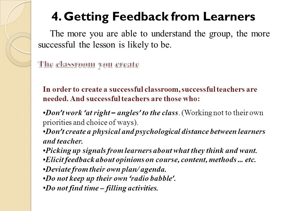4. Getting Feedback from Learners