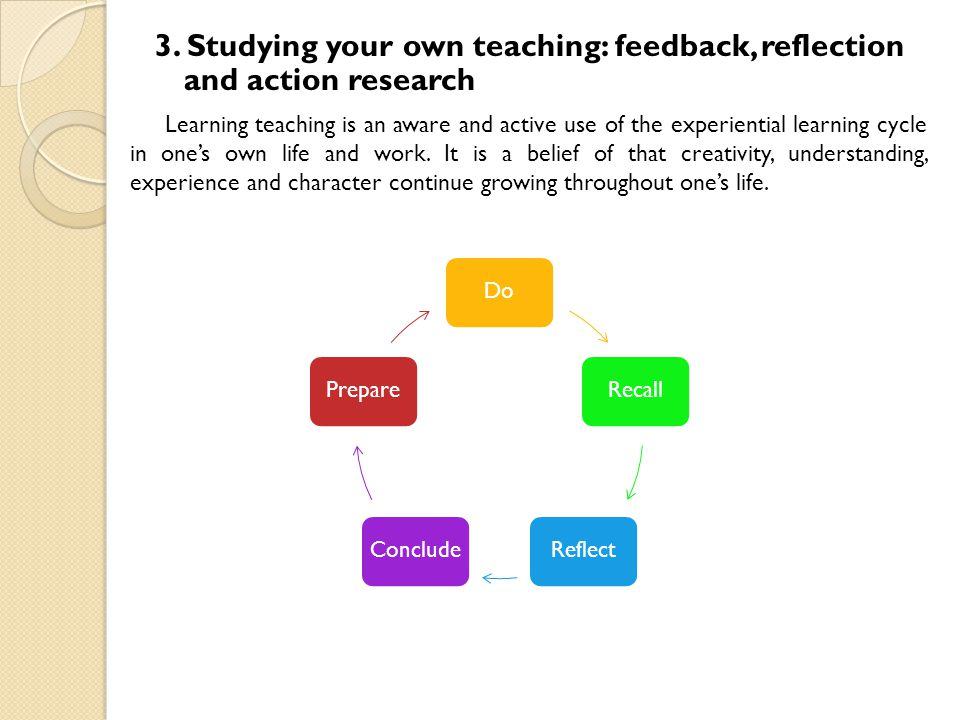 3. Studying your own teaching: feedback, reflection and action research