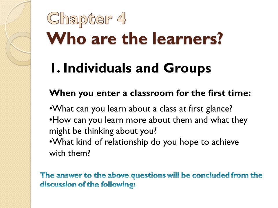 Chapter 4 Who are the learners