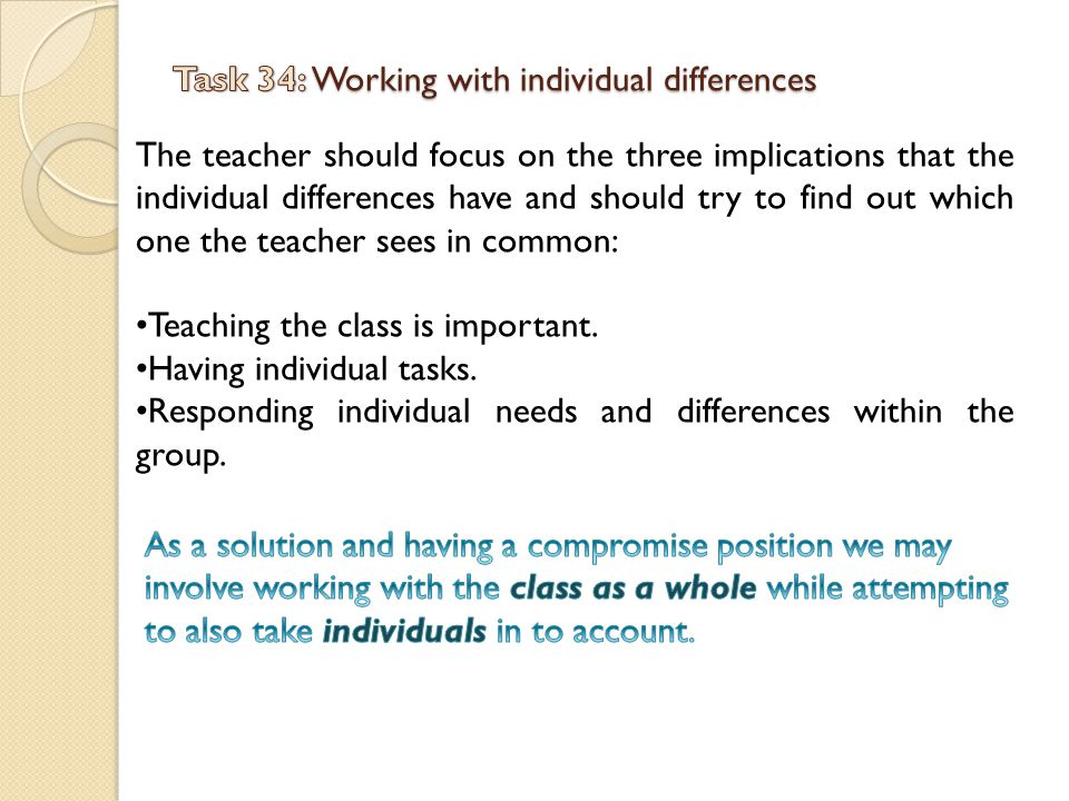 Task 34: Working with individual differences