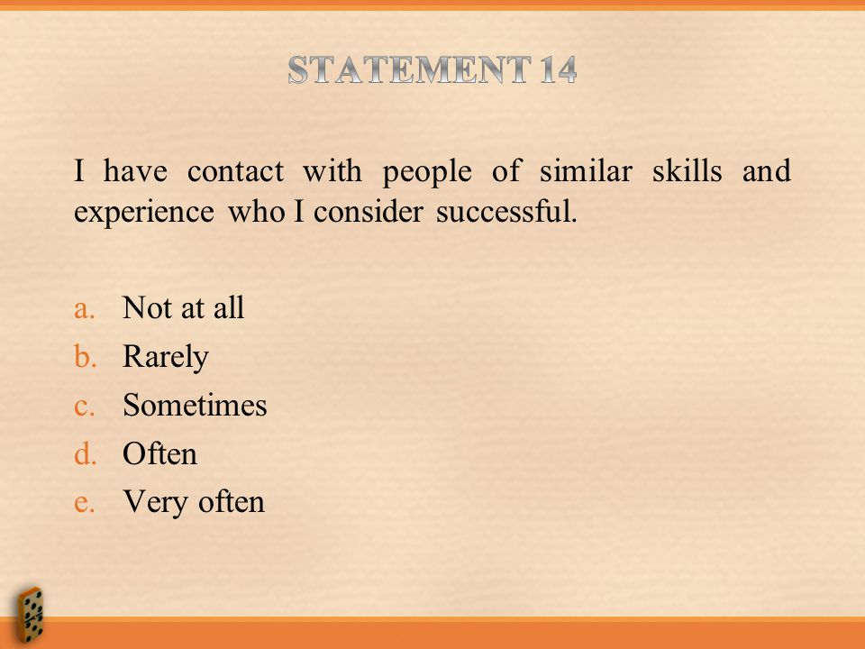 STATEMENT 14 I have contact with people of similar skills and experience who I consider successful.