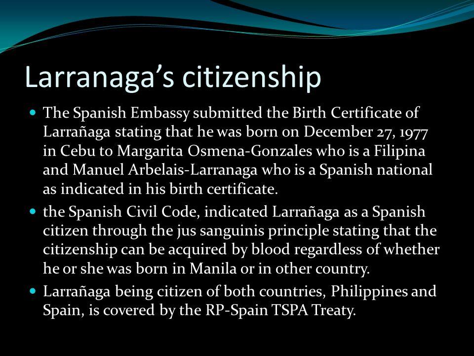 Larranaga's citizenship