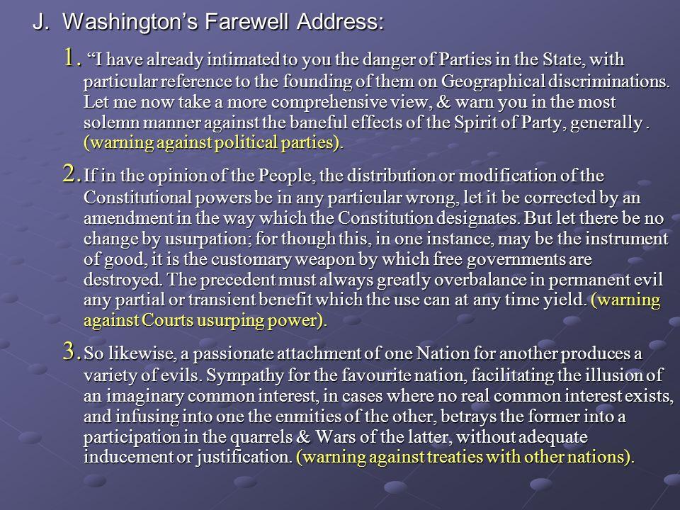 J. Washington's Farewell Address: