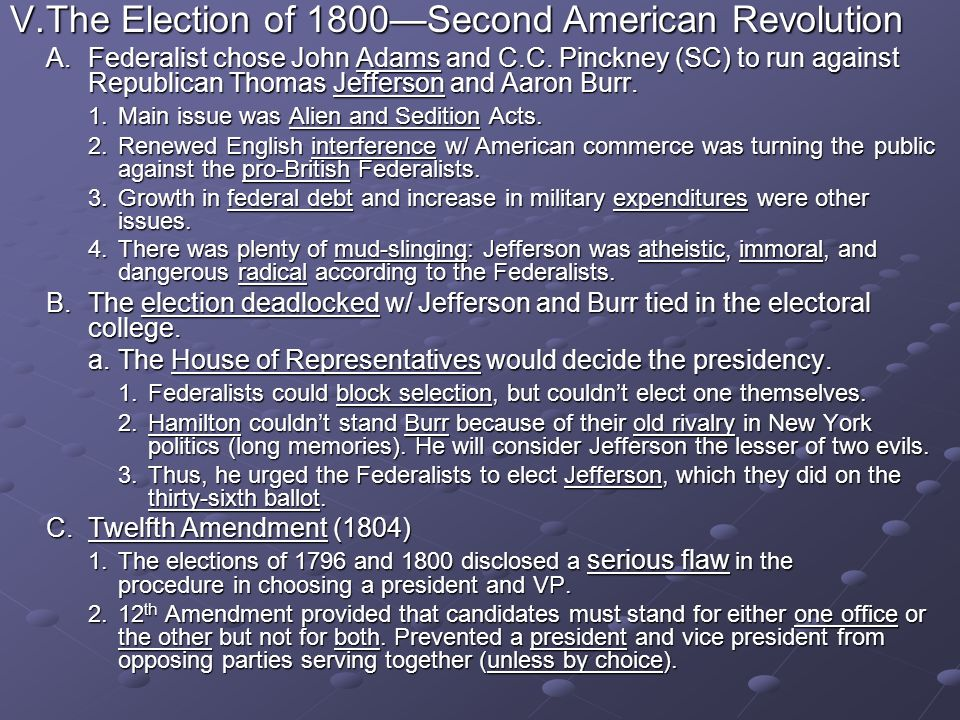 V. The Election of 1800—Second American Revolution