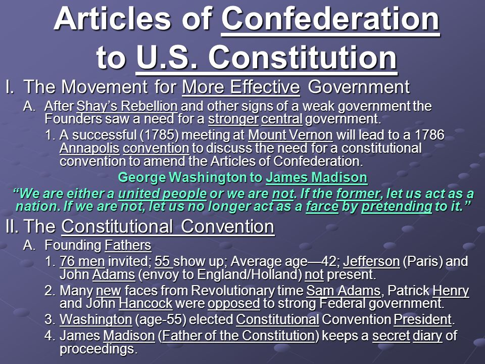 Articles of Confederation to U.S. Constitution