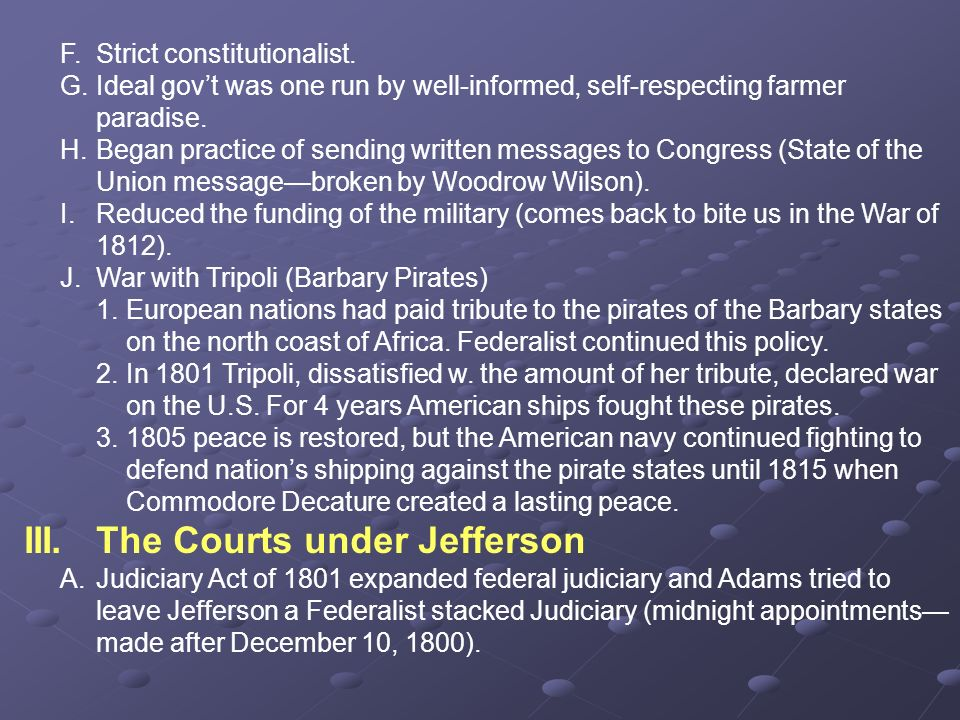 III. The Courts under Jefferson