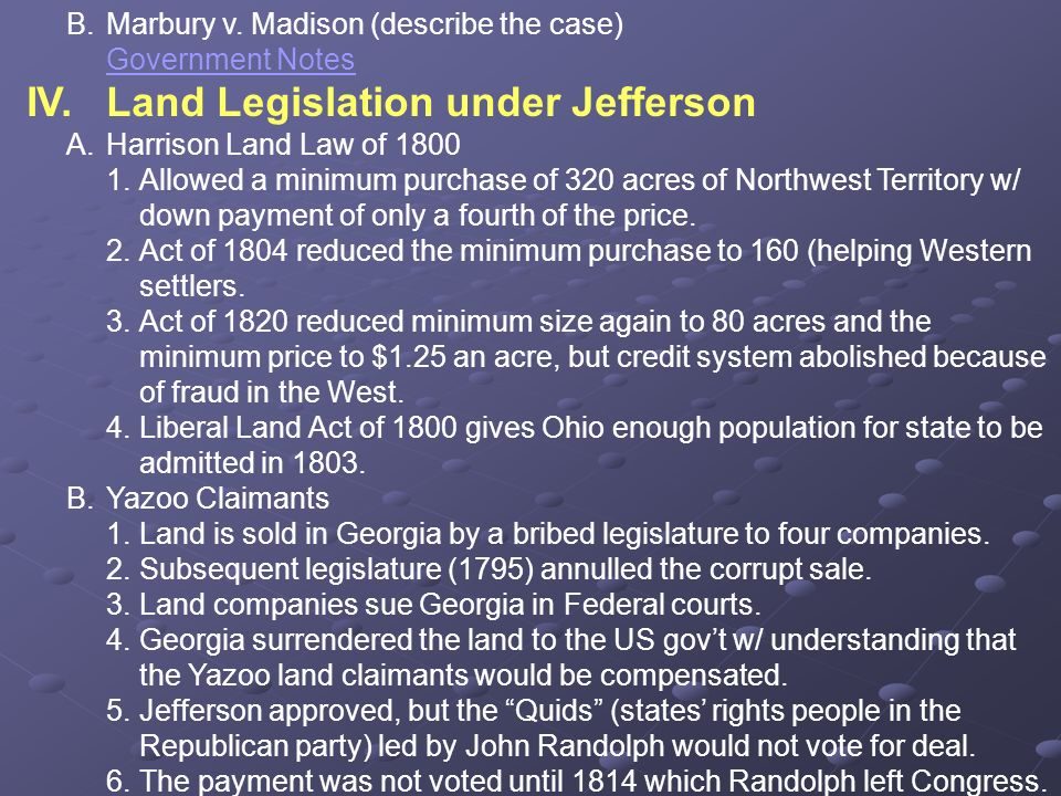 IV. Land Legislation under Jefferson