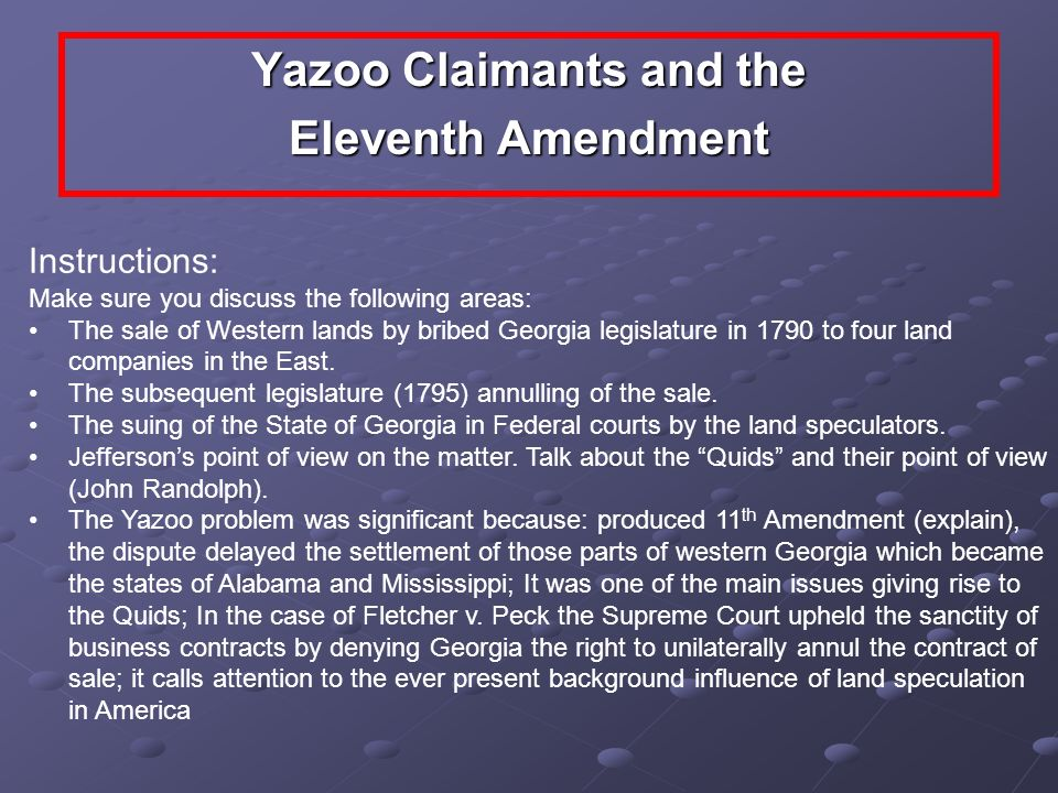 Yazoo Claimants and the Eleventh Amendment