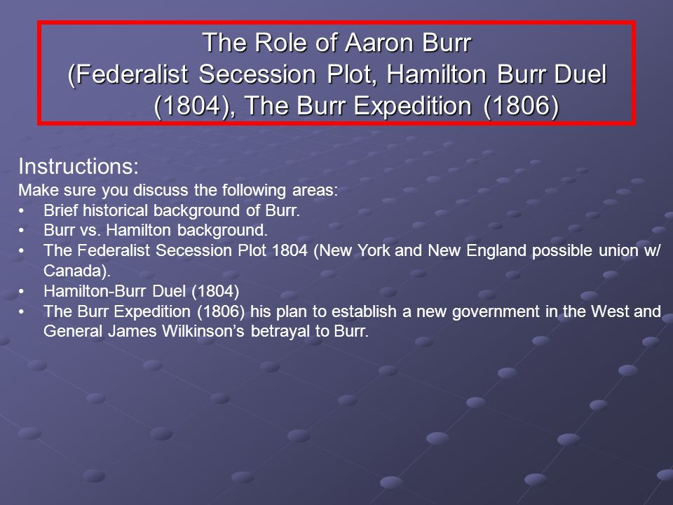 The Role of Aaron Burr (Federalist Secession Plot, Hamilton Burr Duel (1804), The Burr Expedition (1806)