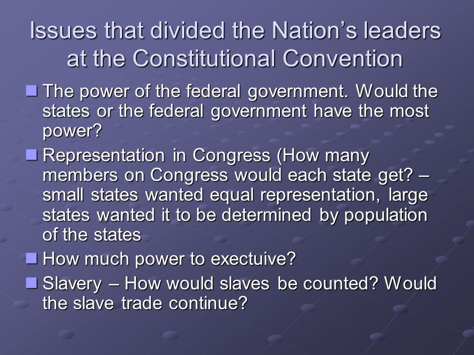 Issues that divided the Nation's leaders at the Constitutional Convention