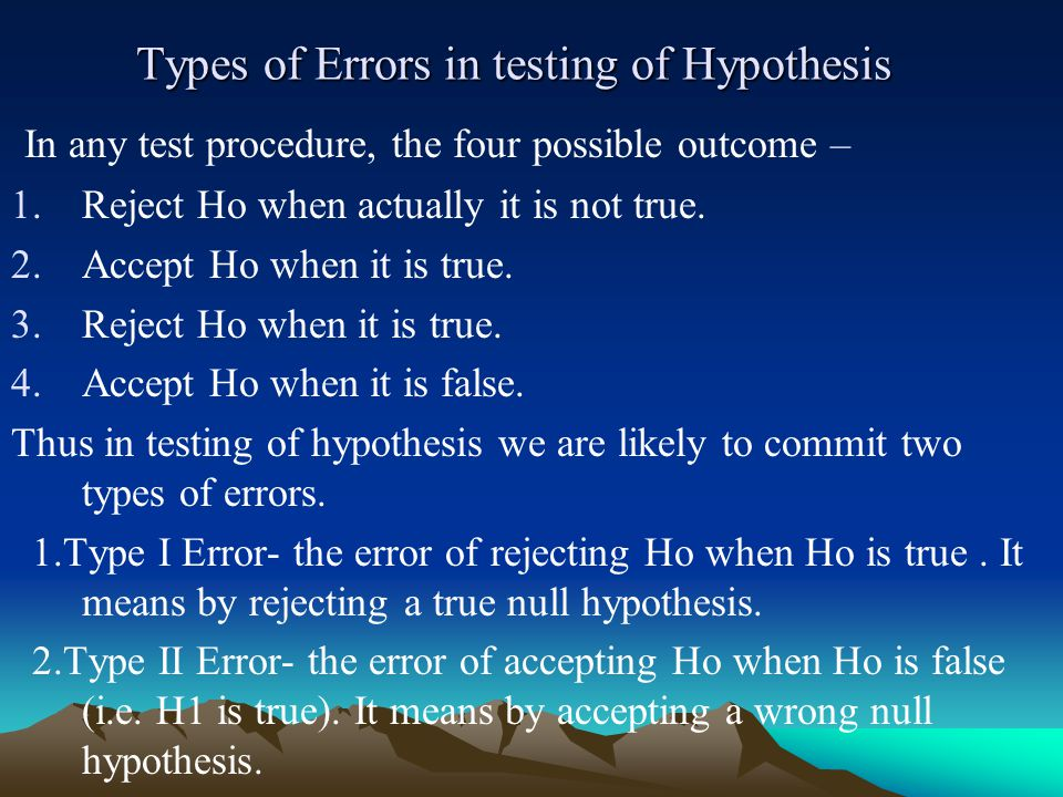 Types of Errors in testing of Hypothesis