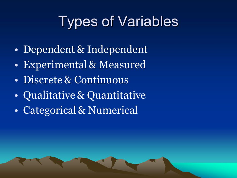 Types of Variables Dependent & Independent Experimental & Measured