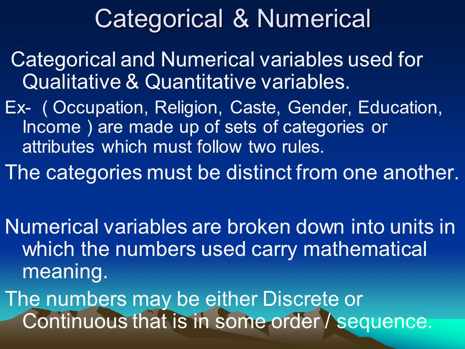 Categorical & Numerical