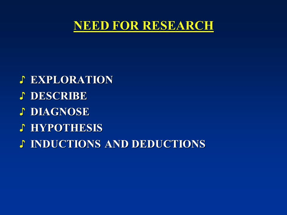 NEED FOR RESEARCH EXPLORATION DESCRIBE DIAGNOSE HYPOTHESIS