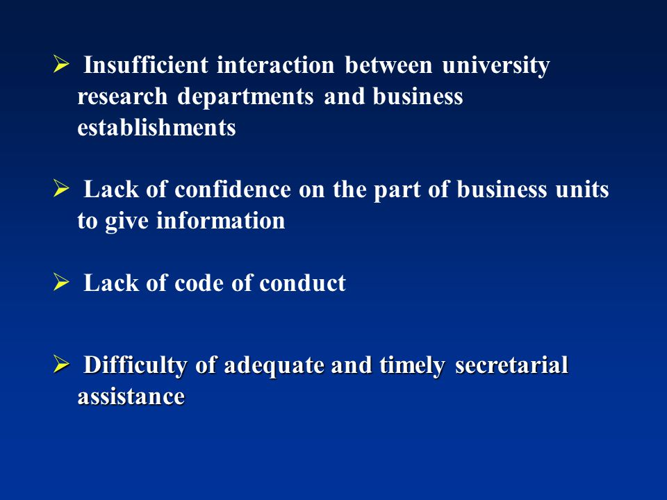 Insufficient interaction between university research departments and business establishments