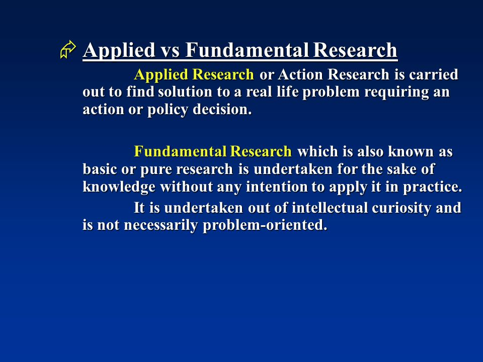 applied vs fundamental research Applied nursing research presents original, peer-reviewed research findings clearly and directly for clinical applications in all nursing specialties.