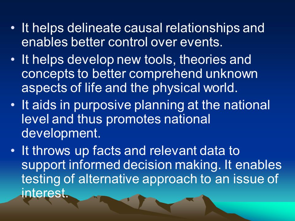 It helps delineate causal relationships and enables better control over events.
