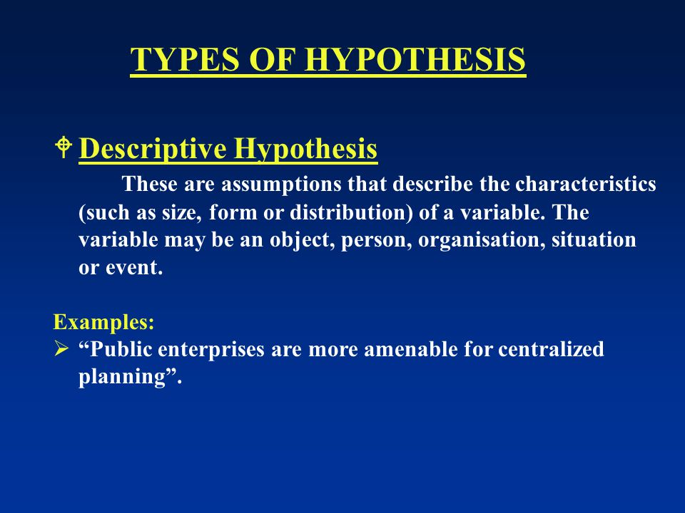 TYPES OF HYPOTHESIS Descriptive Hypothesis