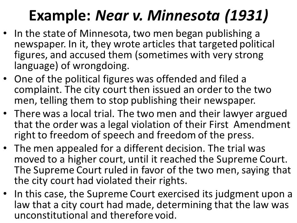 Example: Near v. Minnesota (1931)
