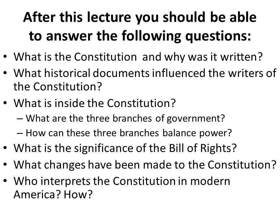 After this lecture you should be able to answer the following questions: