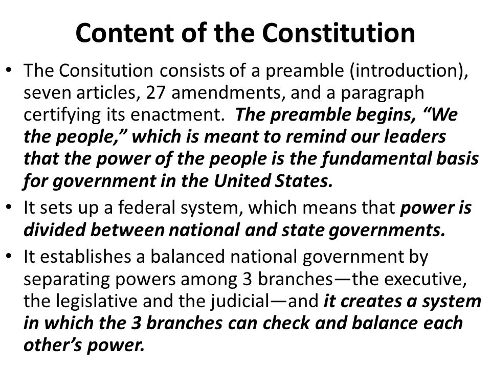 Content of the Constitution
