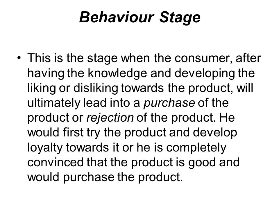 Behaviour Stage