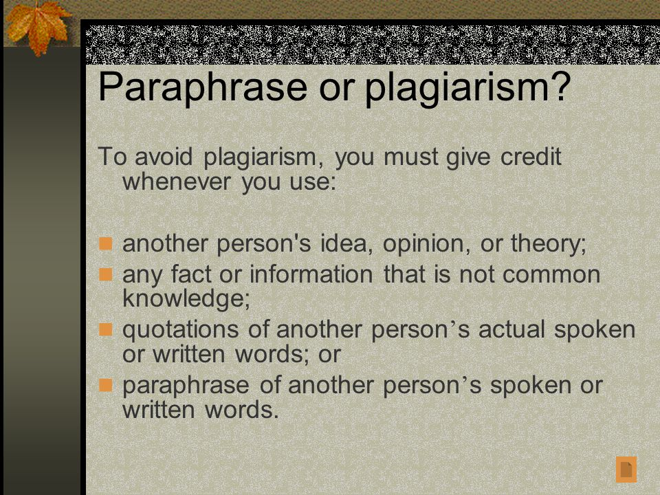 Paraphrase or plagiarism