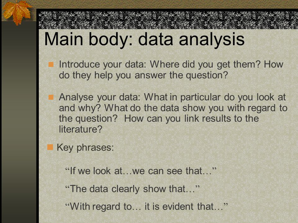 Main body: data analysis