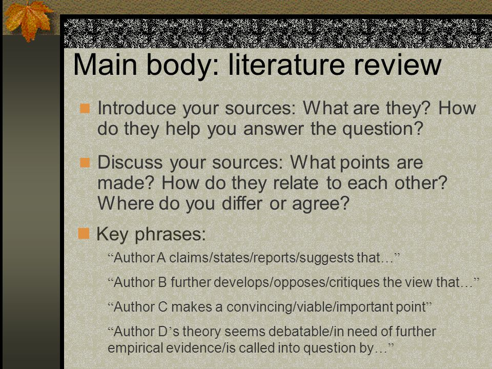 Main body: literature review