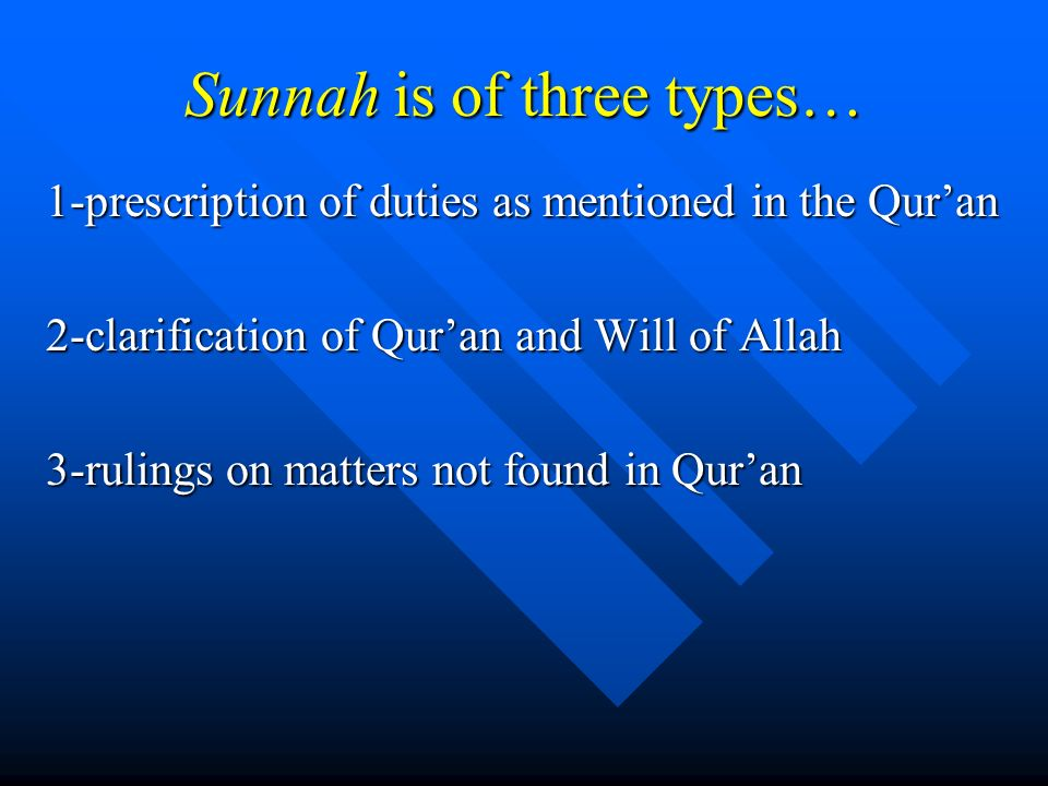 Sunnah is of three types…