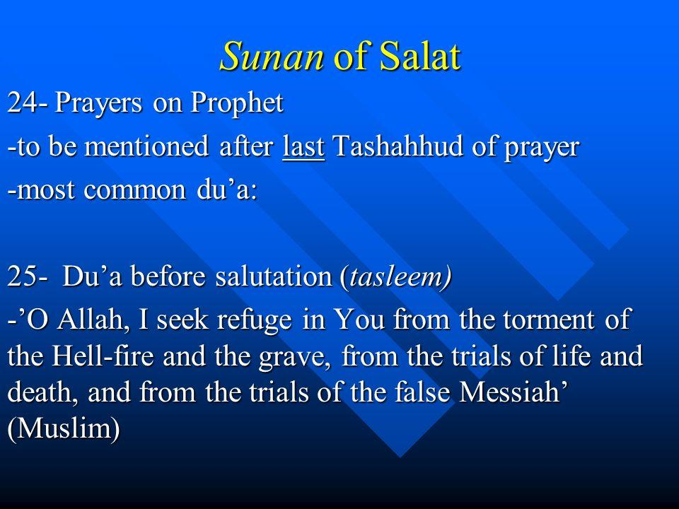 Sunan of Salat 24- Prayers on Prophet