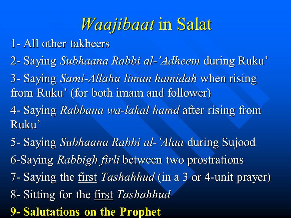 Waajibaat in Salat 1- All other takbeers