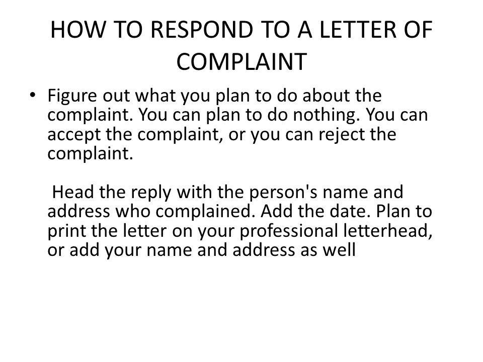 HOW TO RESPOND TO A LETTER OF COMPLAINT