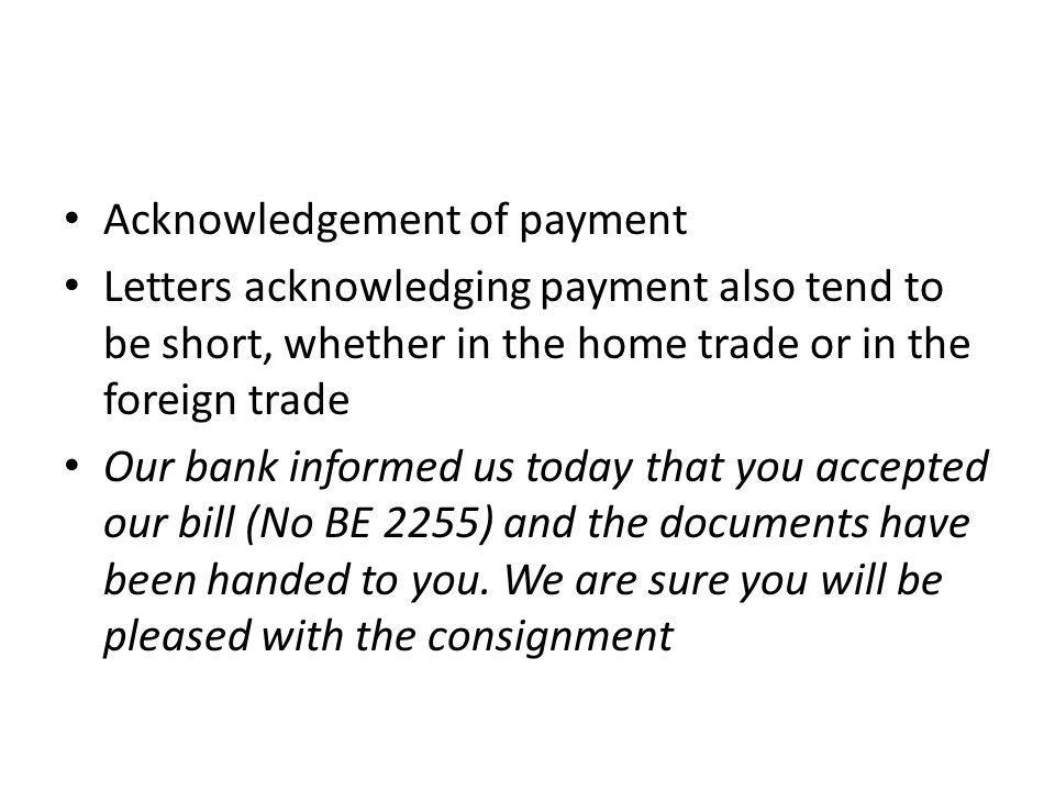 Acknowledgement of payment
