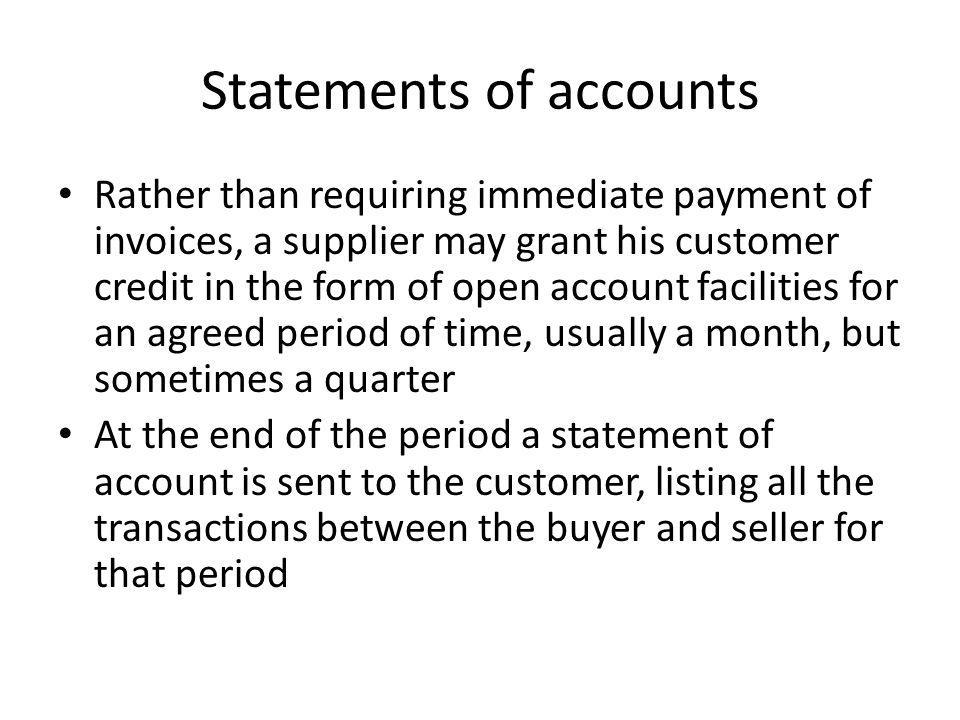 Statements of accounts