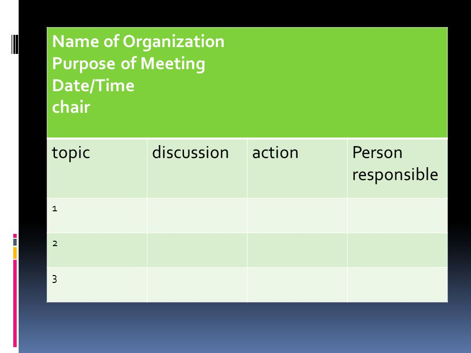 Name of Organization Purpose of Meeting Date/Time chair topic