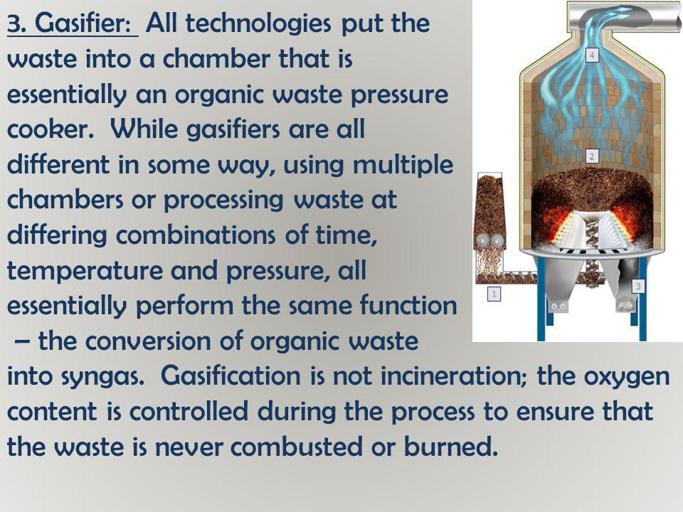 3. Gasifier: All technologies put the