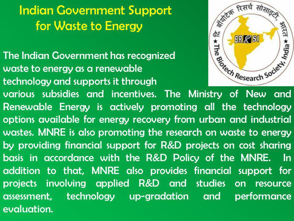 Indian Government Support for Waste to Energy