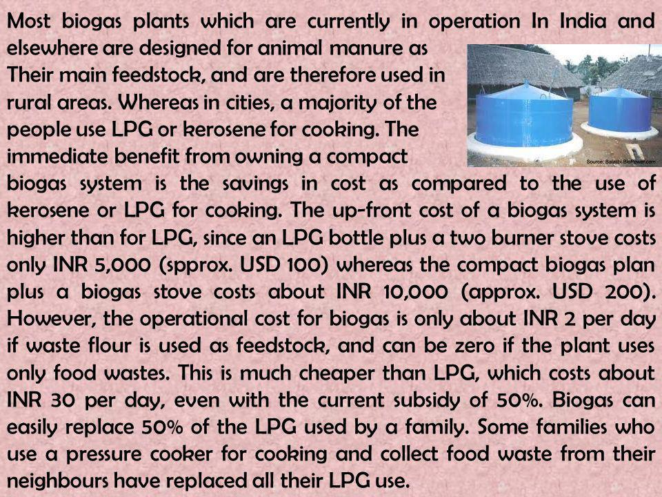 Most biogas plants which are currently in operation In India and elsewhere are designed for animal manure as