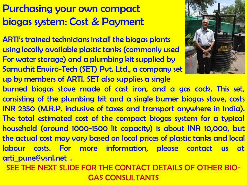 Purchasing your own compact biogas system: Cost & Payment