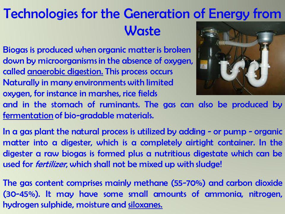 Technologies for the Generation of Energy from Waste