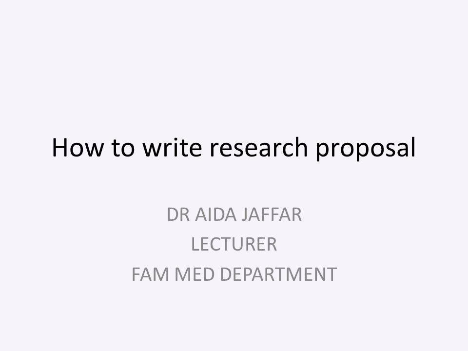 how to structure a research proposal