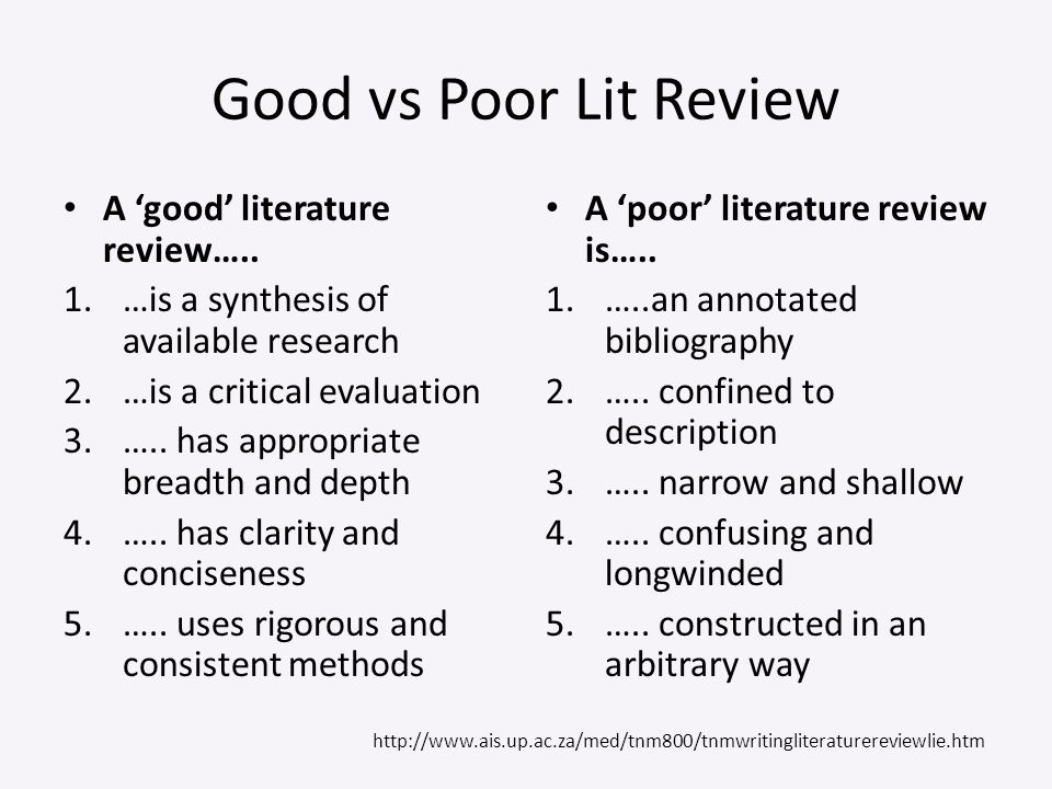 Good vs Poor Lit Review A 'good' literature review…..