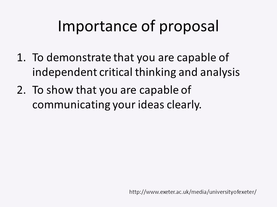 Importance of proposal