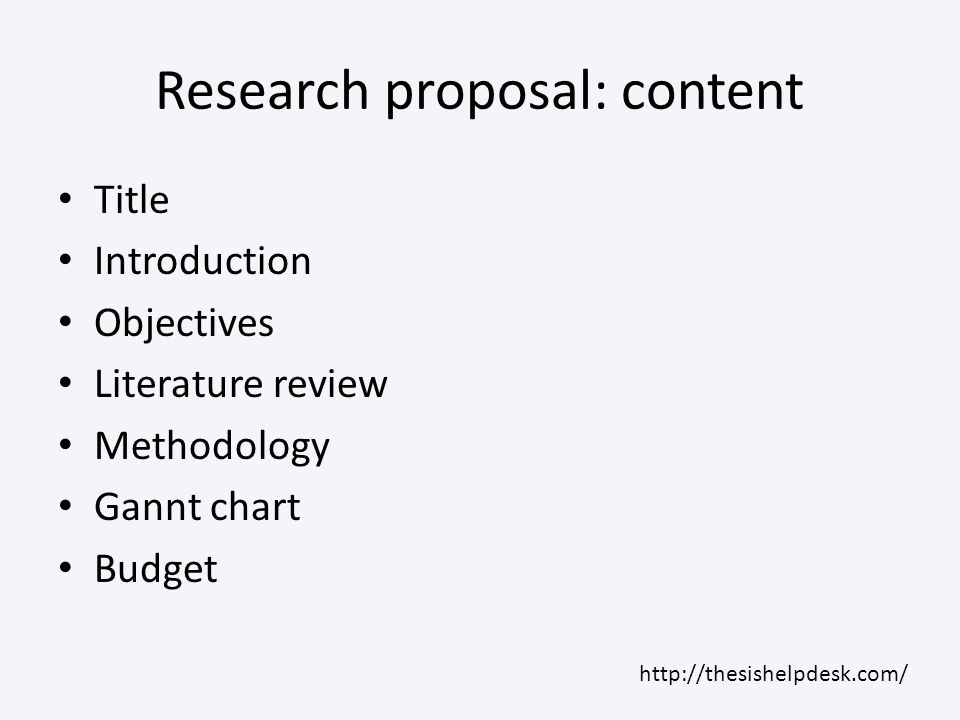 Research proposal: content
