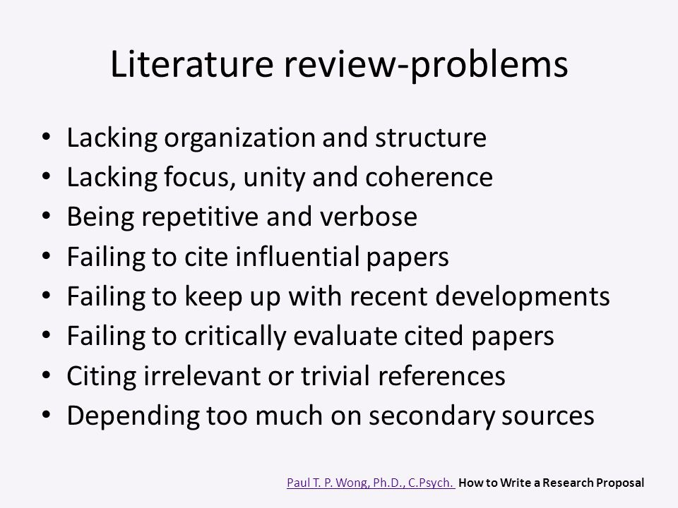 Literature review-problems